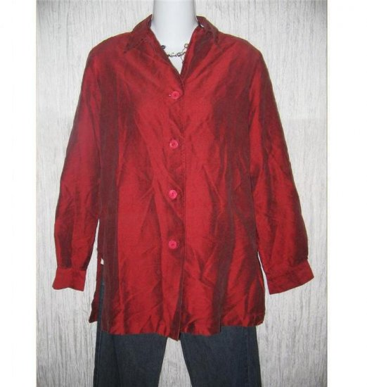 Neiman Marcus Rich Red Silk Button Shirt Tunic Top Size 6
