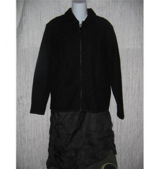 VALERIE STEVENS Boxy Black WOOL Zipper Jacket Coat MEDIUM M