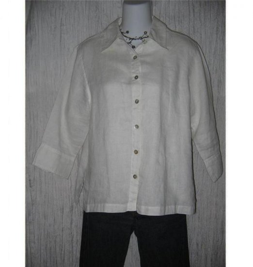 Mercer & Madison White Linen Tunic Top Shirt Medium M
