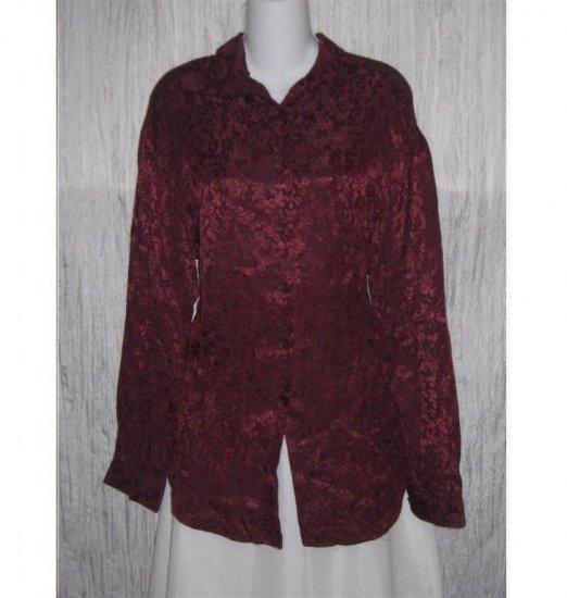 J. Jill Purple Floral Weave Rayon Button Shirt Top Medium M