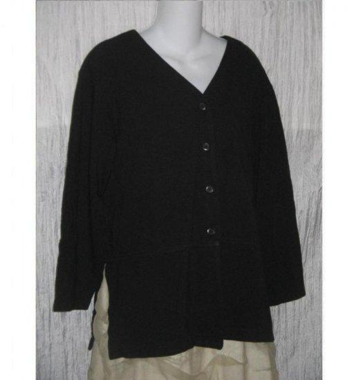 J. JILL Black Skirted Shirt Tunic Top Button Jacket LP