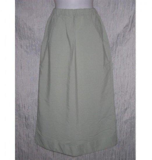 Jeanne Engelhart FLAX Long Green Textured Skirt Small S