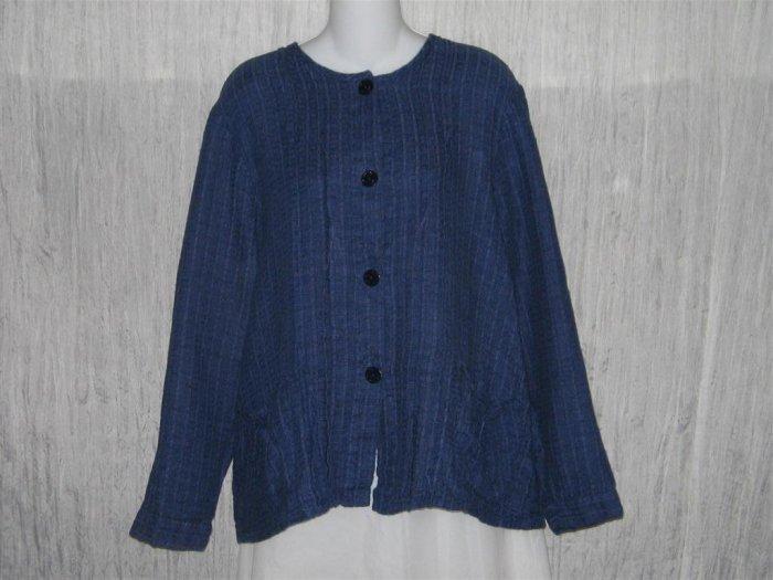 FLAX Textured Blue Boxy Button Jacket Shirt Top Jeanne Engelhart Medium M