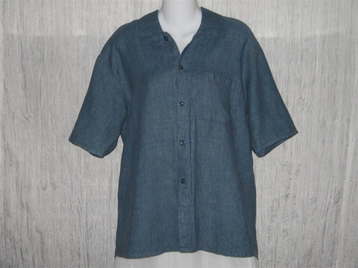 FLAX Blue Linen Button Shirt Tunic Top Jeanne Engelhart Petite P