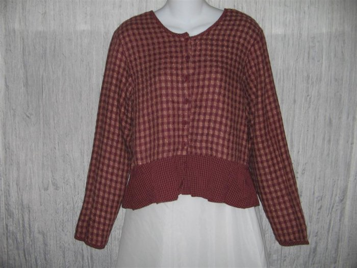 FLAX Shapely Red Plaid Peplum Jacket Shirt Top Jeanne Engelhart Small S