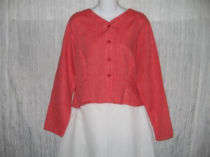 FLAX Shapely Red Stripe Peplum Jacket Shirt Top Jeanne Engelhart Small S