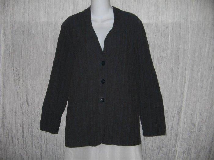 FLAX Blue Gray Jacket Tunic Top Jeanne Engelhart Small S