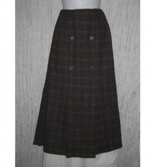 Angelheart Designs Engelhart FLAX Long Pleated Plaid Wool Skirt Small S
