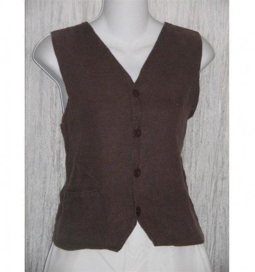 FLAX by Jeanne Engelhart Brown LINEN Pocket Vest Small S