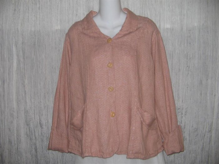 FLAX Pink Textured Linen Shapely Jacket Top Jeanne Engelhart Small S