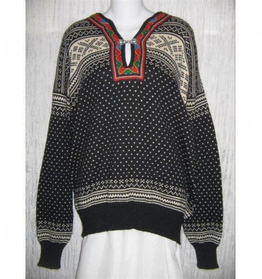 Dale of Norway Black White Toggle Clasp Wool Sweater Large L