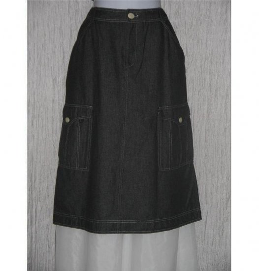 SOLITAIRE Cute Black Denim Calf Length Cargo Skirt Large L