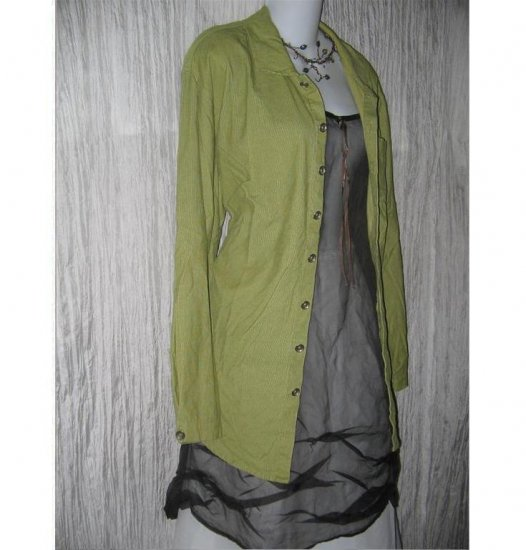 FLAX Green Corduroy Button Shirt Tunic Top Jeanne Engelhart Small S