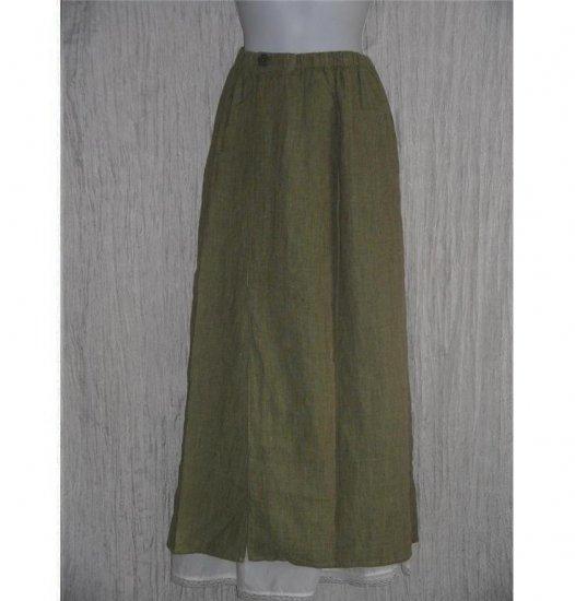 FLAX by Jeanne Engelhart Asymmetrical Green & Brown LINEN Skirt Small S