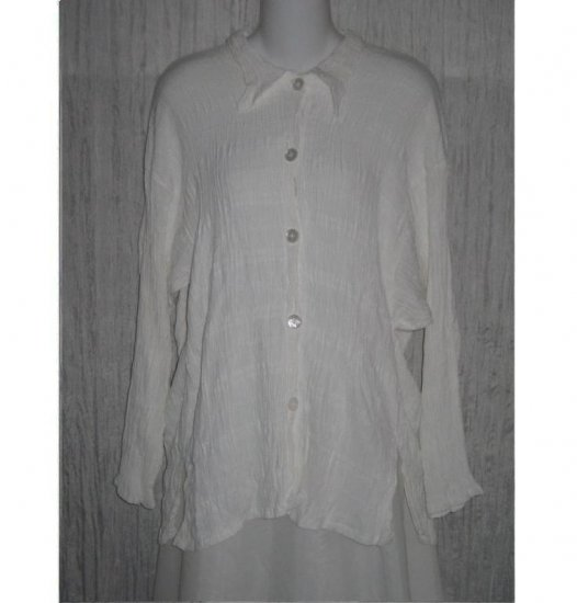 New JACKIE LOVES JOHN White Button Blouse Tunic Top Shirt Small S