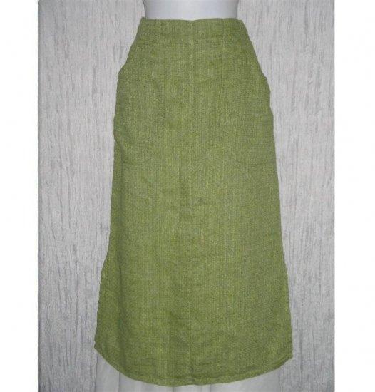 New FLAX Long Green Tweed Linen Pocket Skirt Jeanne Engelhart Petite P