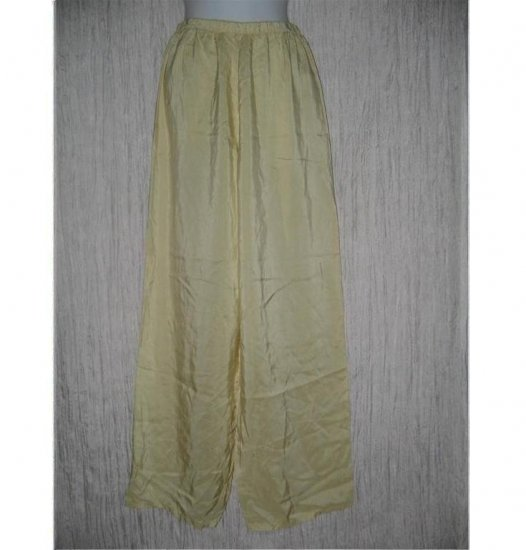 New JACKIE LOVES JOHN Butter Cream Silk Wide Leg Pants Large L