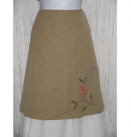 HULIE Short Shapely Khaki Floral Knee Skirt Medium M