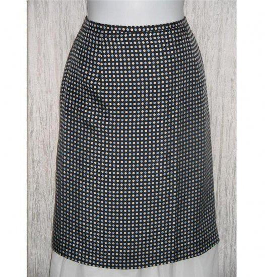 ANN TAYLOR Blue Cream Dots Short Shapely Silk Knee Skirt 10