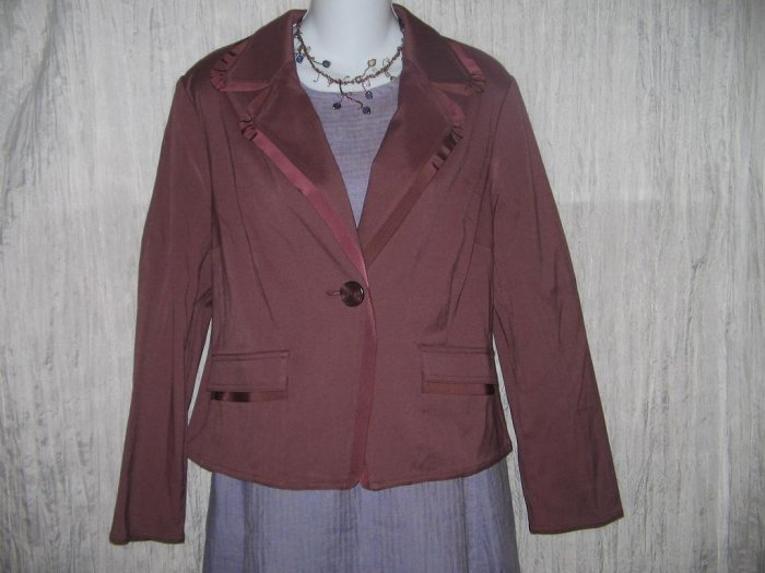 New J. Jill Maroon Shapely Grossgrain Trim Jacket Top 12P 12 Petite