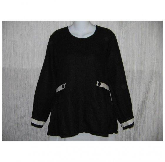 New FLAX Black Textured LINEN Shapely Tunic Top Shirt Jeanne Engelhart Small