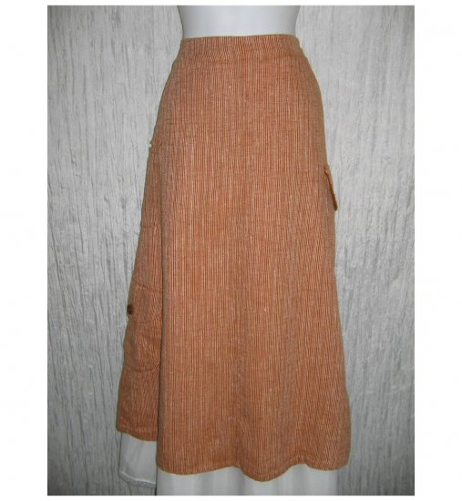 New FLAX Long Burnt Orange Striped LINEN Pocket Skirt Jeanne Engelhart Small S