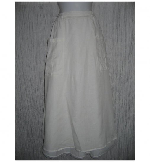 New FLAX Long & Full White LINEN Pocket Skirt Jeanne Engelhart Small S