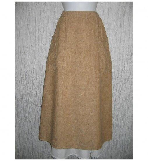 New FLAX Long & Full Toffee LINEN Pocket Skirt Jeanne Engelhart Small S