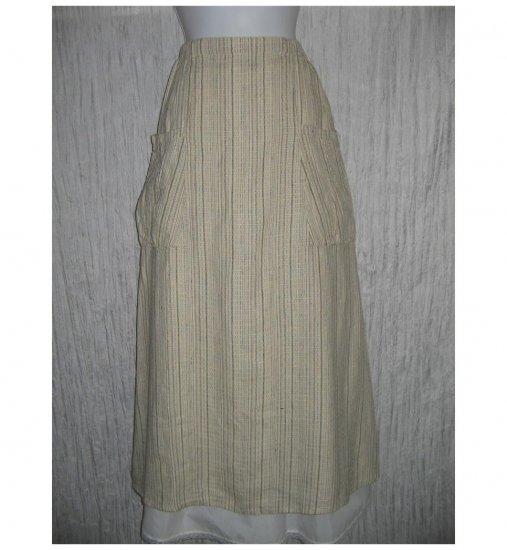 New FLAX Long & Full Earthy Textured LINEN Pocket Skirt Jeanne Engelhart Small S