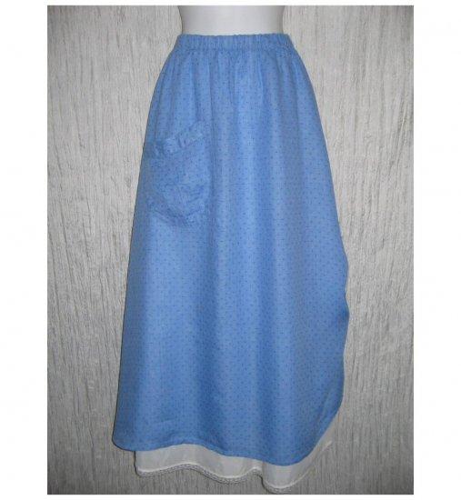 New FLAX Long & Full Blue LINEN Ruched Skirt Jeanne Engelhart Small S