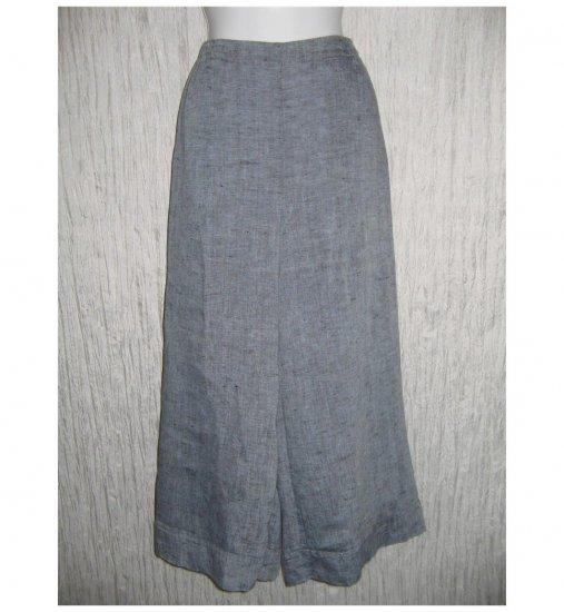 New FLAX Blue LINEN Wide Leg Gauchos Pants Jeanne Engelhart Small S