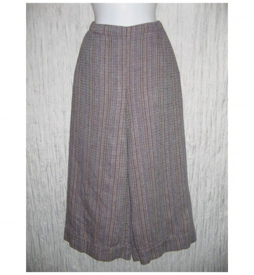 New FLAX Purple Textured LINEN Wide Leg Gauchos Pants Jeanne Engelhart Small S