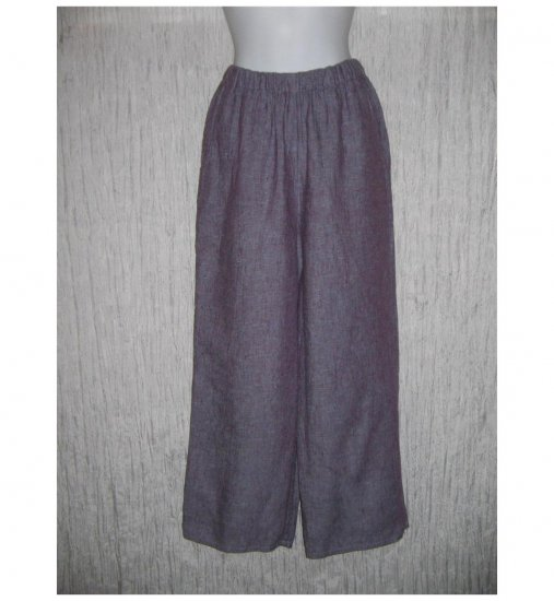 New FLAX Purple Crossweave LINEN Floods Pants Jeanne Engelhart Small S
