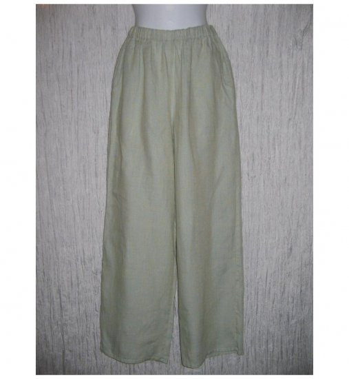 New FLAX Green Crossweave LINEN Floods Pants Jeanne Engelhart Small S
