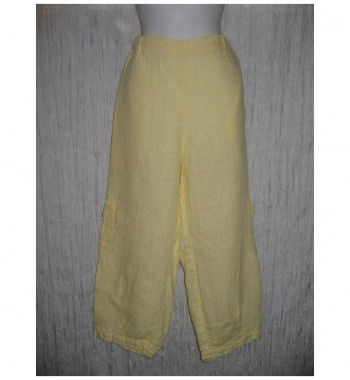New FLAX Yellow Cropped LINEN Cargo Pants Jeanne Engelhart Small S