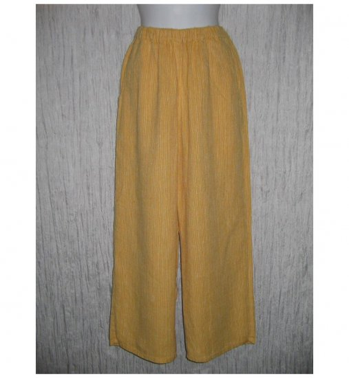 New FLAX Golden Orange Striped LINEN Floods Pants Jeanne Engelhart Small S