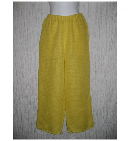 New FLAX Earthy Mustard LINEN Floods Pants Jeanne Engelhart Small S