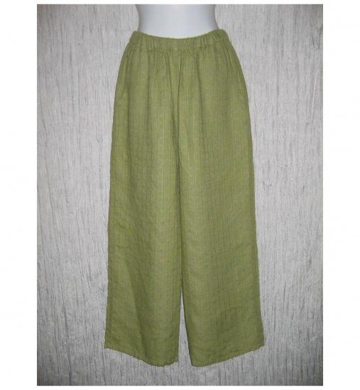 New FLAX Soft Green LINEN Floods Pants Jeanne Engelhart Small S