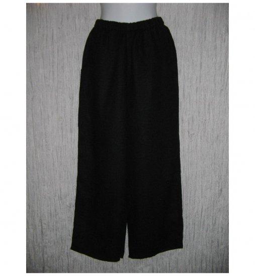 New FLAX Black Textured LINEN Floods Pants Jeanne Engelhart Small S