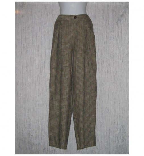 New FLAX Earthy Textured Long LINEN Pants Jeanne Engelhart Small S