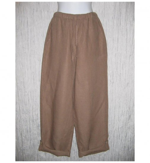 New FLAX Brown LINEN Button Tab Drawstring Pants Jeanne Engelhart Small S