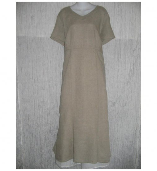 New FLAX Shapely Natural Linen Dress Jeanne Engelhart 1 Generous 1G