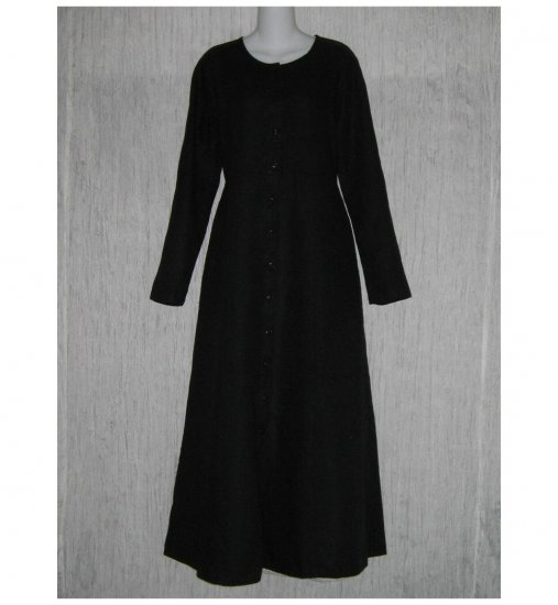 New Flax Shapely Black LINEN Duster Dress Jacket Jeanne Engelhart Small S