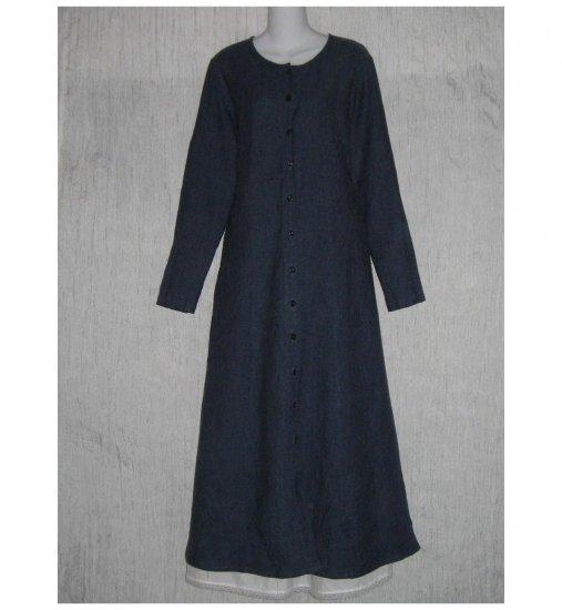 New Flax Shapely Blue LINEN Duster Dress Jacket Jeanne Engelhart Small S