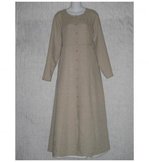 New Flax Shapely Natural LINEN Duster Dress Jacket Jeanne Engelhart Small S