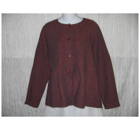 New FLAX Rich Brown LINEN Shapely Jacket Top Jeanne Engelhart Small S