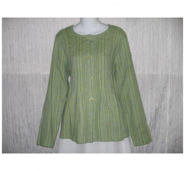 New FLAX Blue Green Textured LINEN Shapely Jacket Top Jeanne Engelhart Small S