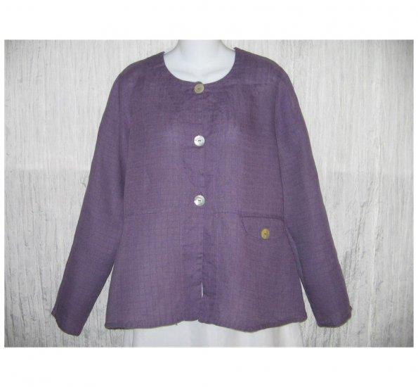 New FLAX Purple LINEN Shapely Jacket Top Jeanne Engelhart Small S