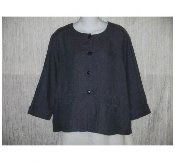 New FLAX Boxy Blue LINEN Jacket Top Jeanne Engelhart Small S
