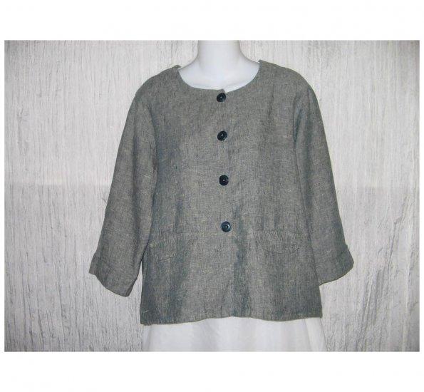 New FLAX Salt & Pepper Gray LINEN Jacket Top Jeanne Engelhart Small S